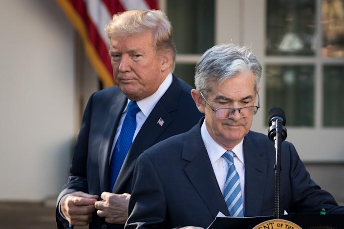 WASHINGTON, DC - NOVEMBER 02: (L to R) U.S. President Donald Trump looks on as his nominee for the chairman of the Federal Reserve Jerome Powell takes to the podium during a press event in the Rose Garden at the White House, November 2, 2017 in Washington, DC. Current Federal Reserve chair Janet Yellen's term expires in February. (Photo by Drew Angerer/Getty Images)