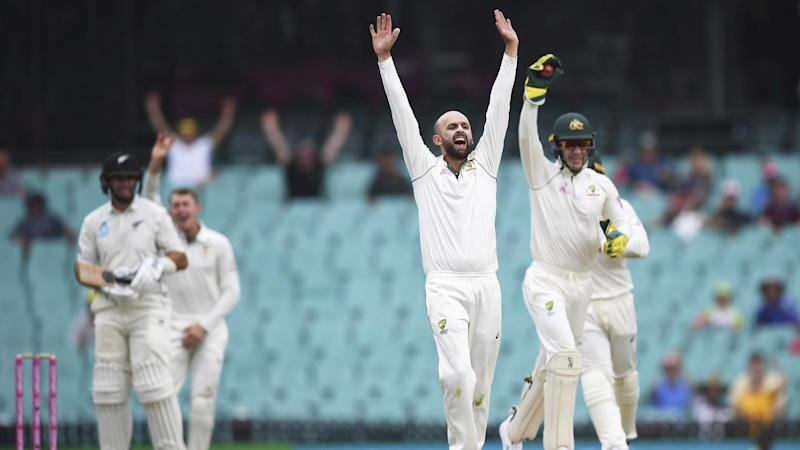 Nathan Lyon has claimed 10 wickets for the match as Australia beat New Zealand in the third Test
