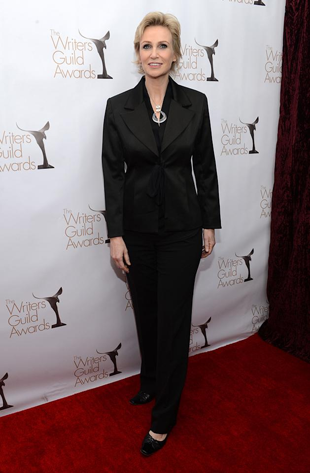 Jane Lynch arrives at the 2013 WGAw Writers Guild Awards at JW Marriott Los Angeles at L.A. LIVE on February 17, 2013 in Los Angeles, California.  (Photo by Jason Kempin/Getty Images for WGAw)