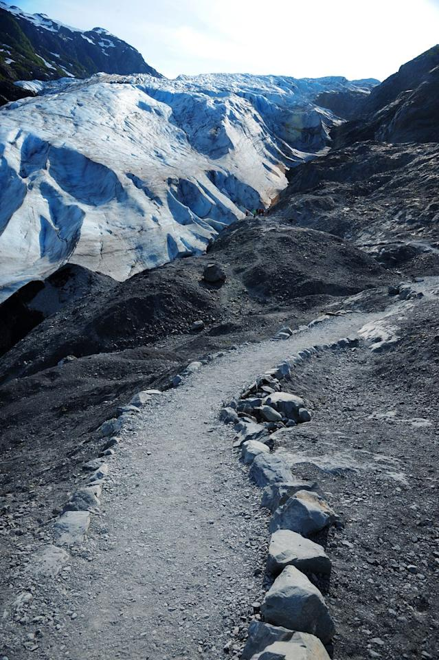 """<p>This 1.8-mile out-and-back <a href=""""https://www.alltrails.com/trail/us/alaska/exit-glacier-trail--2"""" target=""""_blank"""">trail in Kenai Fjords National Park</a> offers all of the dramatic excitement of the state <em>without</em> the dangerous terrain. In just 15- to 20-minutes you'll make it from the parking to the <a href=""""https://www.tripadvisor.com/Attraction_Review-g143039-d145138-Reviews-Exit_Glacier-Kenai_Fjords_National_Park_Alaska.html"""" target=""""_blank"""">Exit Glacier</a>—and you'll even be able to hear it crackle.</p>"""
