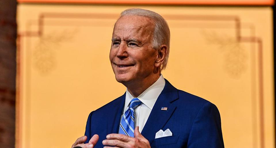 Pictured is President-elect Joe Biden during his Thanksgiving address.