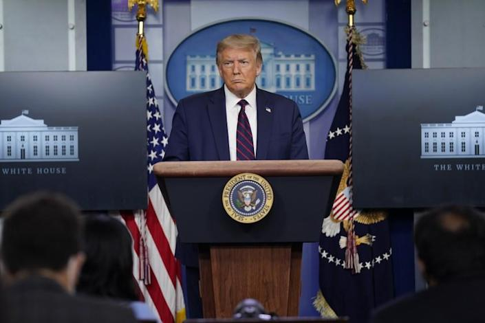 """President Trump during a news conference at the White House on Tuesday. <span class=""""copyright"""">(Evan Vucci / Associated Press)</span>"""