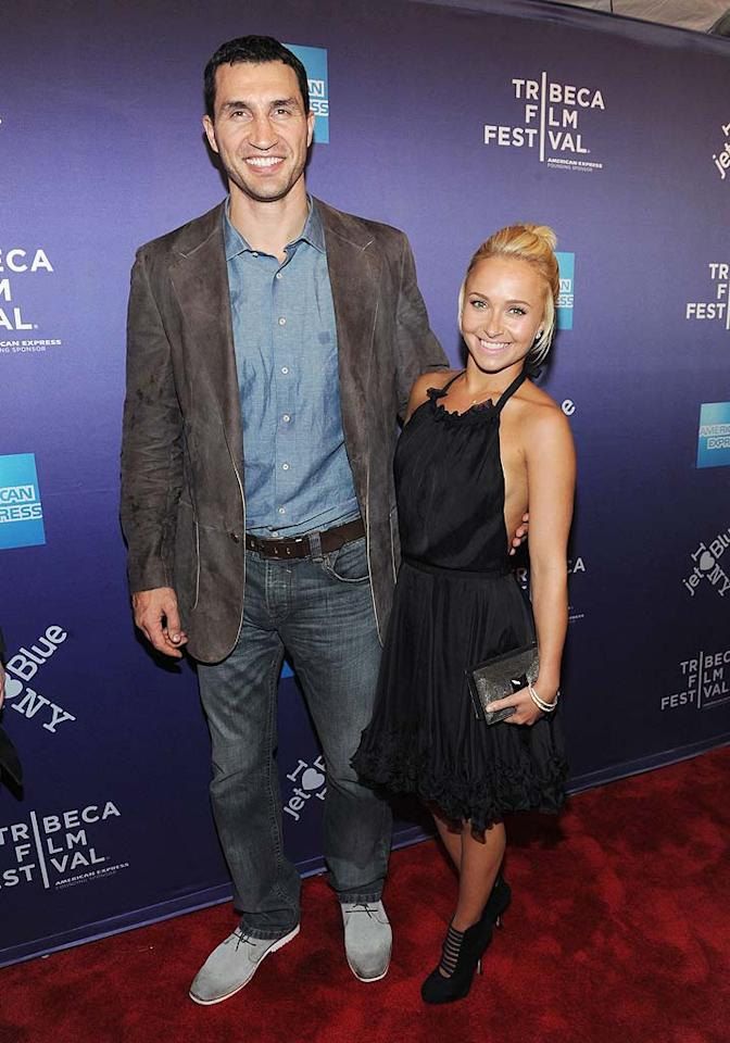 """""""Heroes"""" actress Hayden Panettiere, 22, and Ukrainian boxing champ Wladimir Klitschko, 35, knocked out their 5-month relationship in May. The two clearly decided to take the high road. """"Even though we've decided splitting up is best for both of us, we have an amazing amount of love and respect for each other and remain very close friends,"""" Panettiere told <i>People</i> at the time. """"We had a great time together, but it's not that easy to manage a relationship between two continents,"""" Klitschko said separately."""