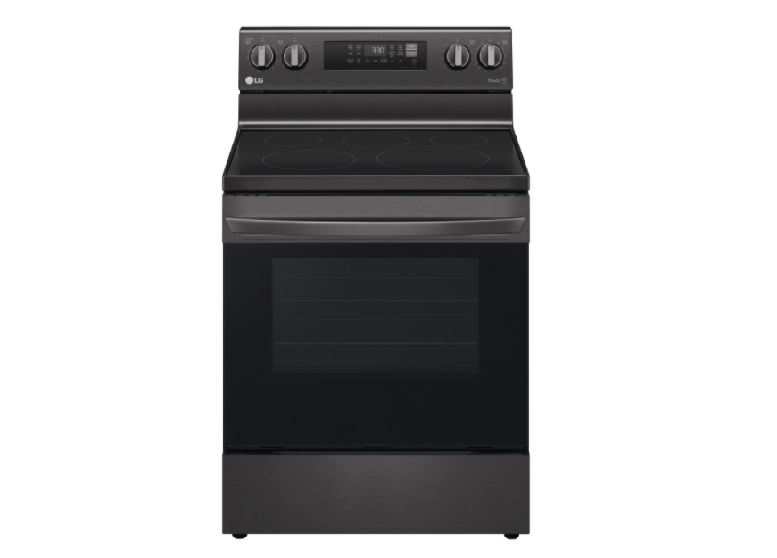 "LG 30"" 6.3 Cu. Ft. Fan Convection 5-Element Electric Air Fry Range. Image via Best Buy."