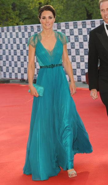 Kate Middleton Teal Floor-Length Gown At 'Our Greatest Team Rises' Olympic Concert