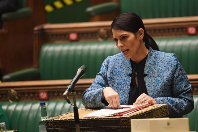 Home Secretary Priti Patel said she did not support England players taking the knee.