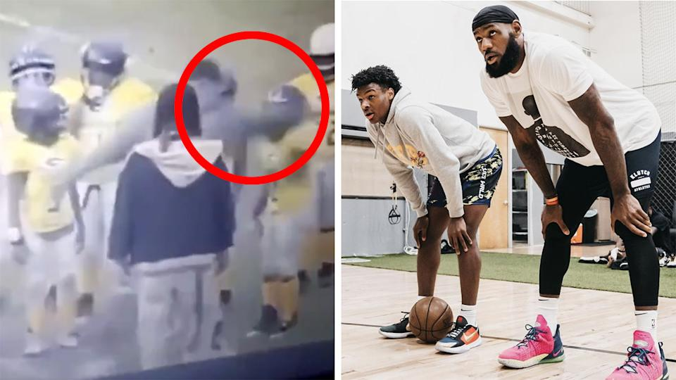 Lebron James has slammed a football coach in the U.S. who was caught on camera knocking a nine-year-old player to the ground by hitting him on the helmet. Pictures: Twitter/Instagram/kingjames
