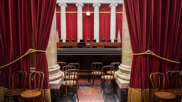 PHOTO: The nine chairs for justices of the Supreme Court with Justice Antonin Scalia's seat draped in black, Feb. 16, 2016, following his death on Feb. 13, 2016. (CQ-Roll Call via Getty Images, FILE)