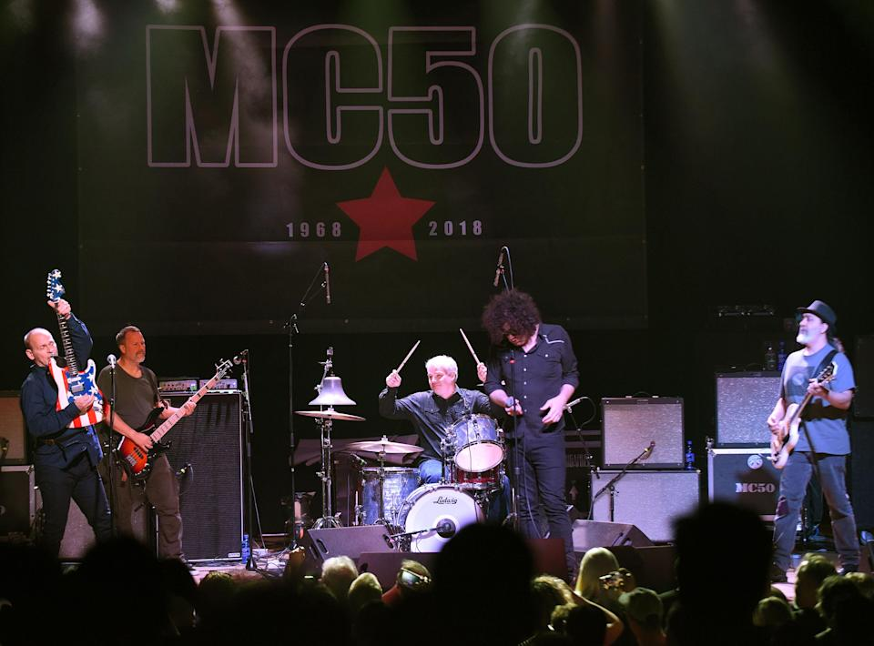Wayne Kramer, far left, and MC50. (Photo: Chris McKay/Getty Images)