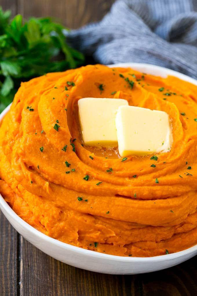 """<p>An ultra-creamy side like this will complement any main dish.</p><p><strong>Get the recipe at <a href=""""https://www.dinneratthezoo.com/mashed-sweet-potatoes/"""" rel=""""nofollow noopener"""" target=""""_blank"""" data-ylk=""""slk:Dinner at the Zoo"""" class=""""link rapid-noclick-resp"""">Dinner at the Zoo</a>.</strong></p>"""