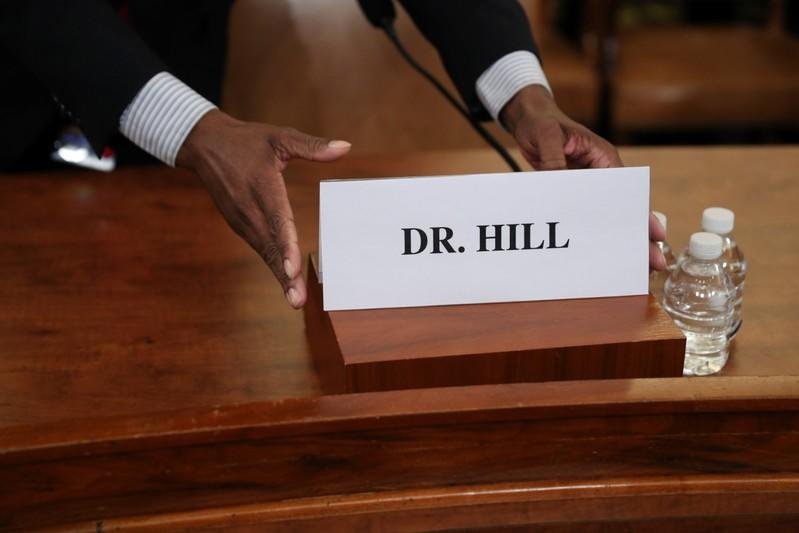 A nameplate for Fiona Hill is placed before she testifies in front of the House Intelligence Committee hearing as part of Trump impeachment inquiry on Capitol Hill in Washington