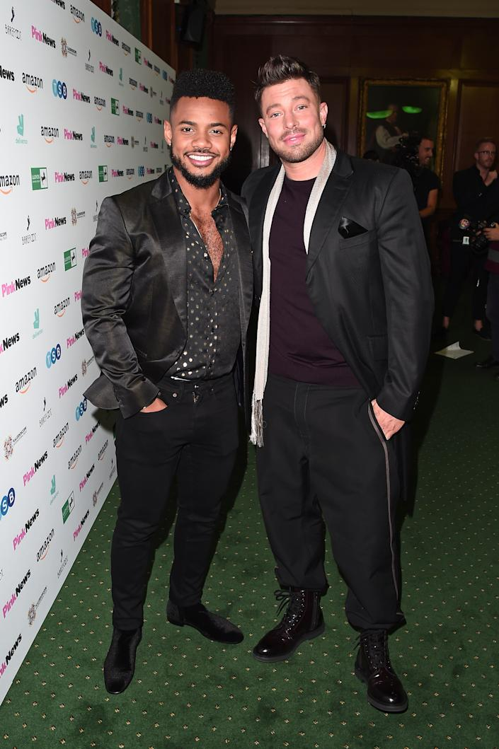 LONDON, ENGLAND - OCTOBER 16: Rodrigo Reis and Duncan James attend the PinkNews Awards 2019 at The Church House on October 16, 2019 in London, England. (Photo by Eamonn M. McCormack/Getty Images)