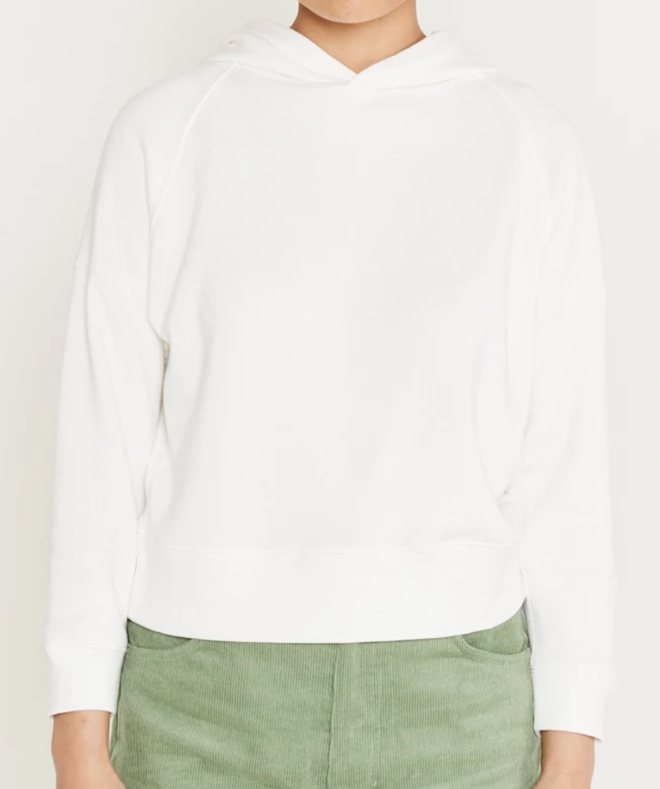 Entireworld Women's Tiny Loop Back Hoodie in White