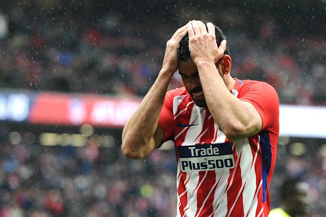 """<a class=""""link rapid-noclick-resp"""" href=""""/soccer/players/diego-costa/"""" data-ylk=""""slk:Diego Costa"""">Diego Costa</a> scored, but was also sent off, in his first La Liga match back with Atletico Madrid. (Getty)"""