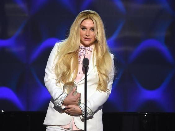 Kesha accepting the Trailblazer Award at the 2016 Billboard Women in Music Awards (Getty Images)
