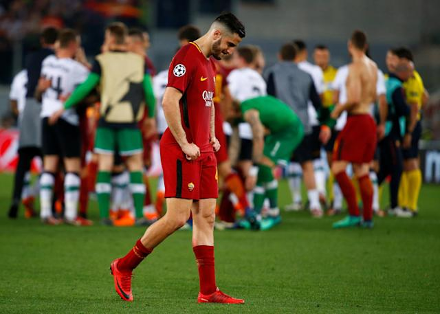 <p>Soccer Football – Champions League Semi Final Second Leg – AS Roma v Liverpool – Stadio Olimpico, Rome, Italy – May 2, 2018 Roma's Konstantinos Manolas looks dejected after the match REUTERS/Tony Gentile </p>
