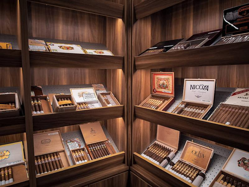 Cigar Bar walk-in humidor houses variety of premium Cuban and non-Cuban selections. — Picture courtesy of Cigar Bar