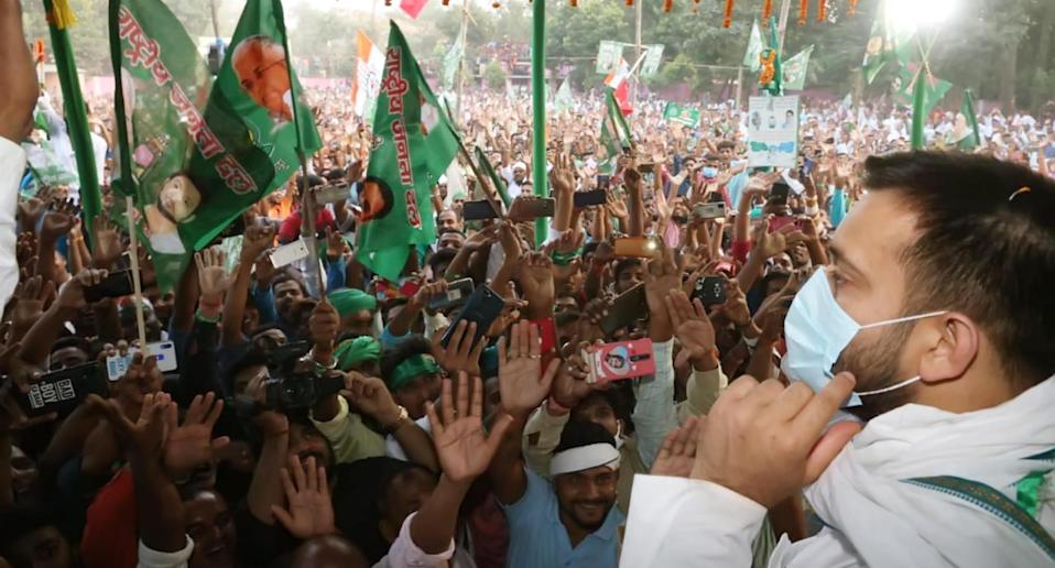 RJD's Tejashwi Yadav is contesting from Raghopur against Satish Kumar of the BJP. Photo: Getty Images
