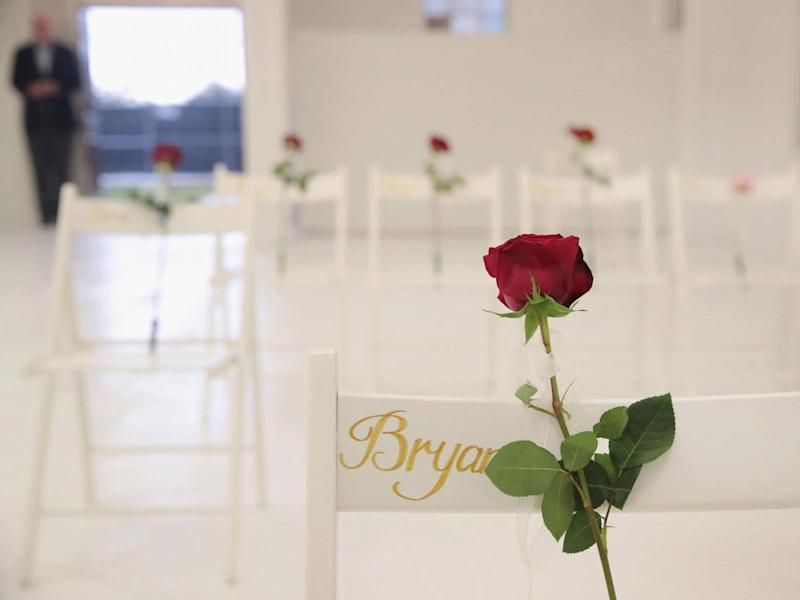 The inside of the church has been painted white with 26 white chairs placed around the room (Getty Images)