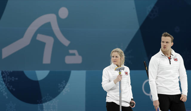 Norway's Kristin Skaslien, left, and Magnus Nedregotten watch during their mixed doubles curling match against the Olympic Athletes from Russia at the 2018 Winter Olympics in Gangneung, South Korea. (AP Photo/Aaron Favila)