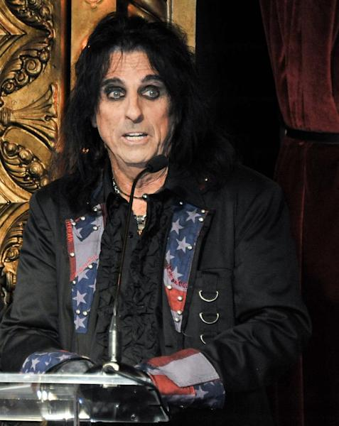 Alice Cooper attends the Motley Crue Press Conference, Tuesday, Jan. 28, 2014, in Los Angeles. The heavy-metal band says it will retire after performing 72 goodbye concerts. The band made the announcement at the press conference. (Photo by Richard Shotwell/Invision/AP)