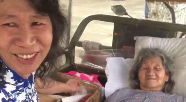 A 50-year-old man has been dressing up as his dead sister for 20 years to ease his mother's heartbreak. Picture: Pear Video