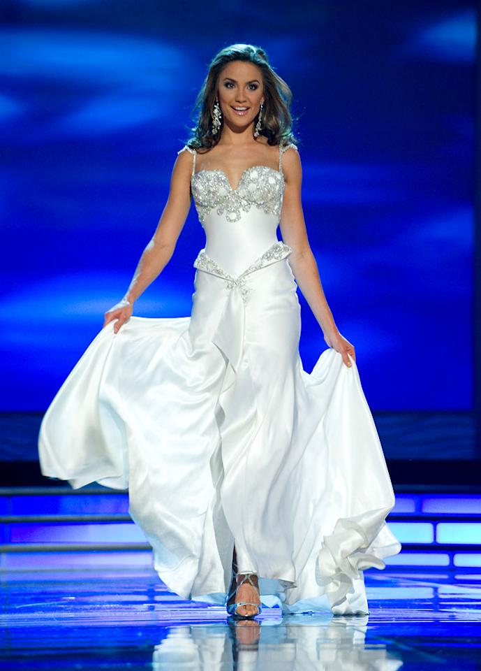 Rachael Finch, Miss Australia 2009, competes as a top 10 finalist in an evening gown of her choice during the 58th annual Miss Universe competition from Atlantis, Paradise Island, Bahamas.