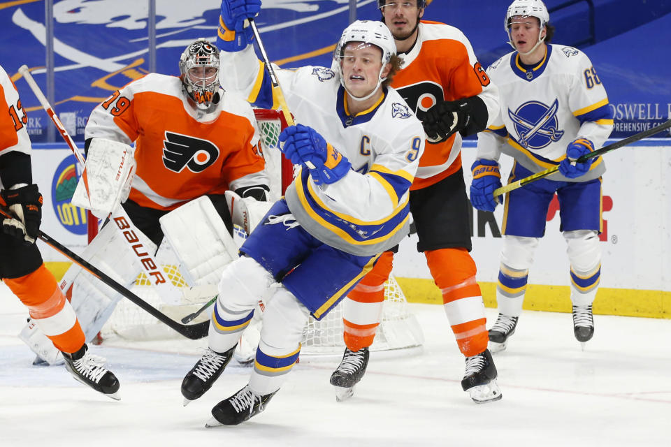 Buffalo Sabres forward Jack Eichel (9) skates during the second period of an NHL hockey game against the Philadelphia Flyers, Sunday, Feb. 28, 2021, in Buffalo, N.Y. (AP Photo/Jeffrey T. Barnes)