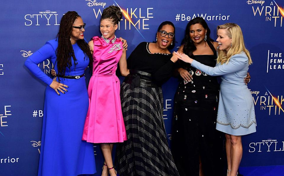 With Ava DuVernay, Storm Reid, Oprah Winfrey, and Mindy Kaling in 2018 - Ian West