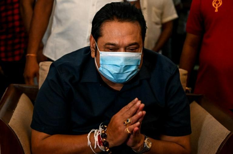 Sri Lanka's Prime Minister Mahinda Rajapaksa greeted supporters at his home