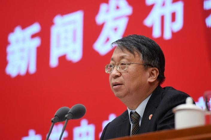 Shen Chunyao, director of the Hong Kong, Macau and Basic Law Commission, said China would 'never tolerate any act' that aims to split the country (AFP Photo/GREG BAKER)