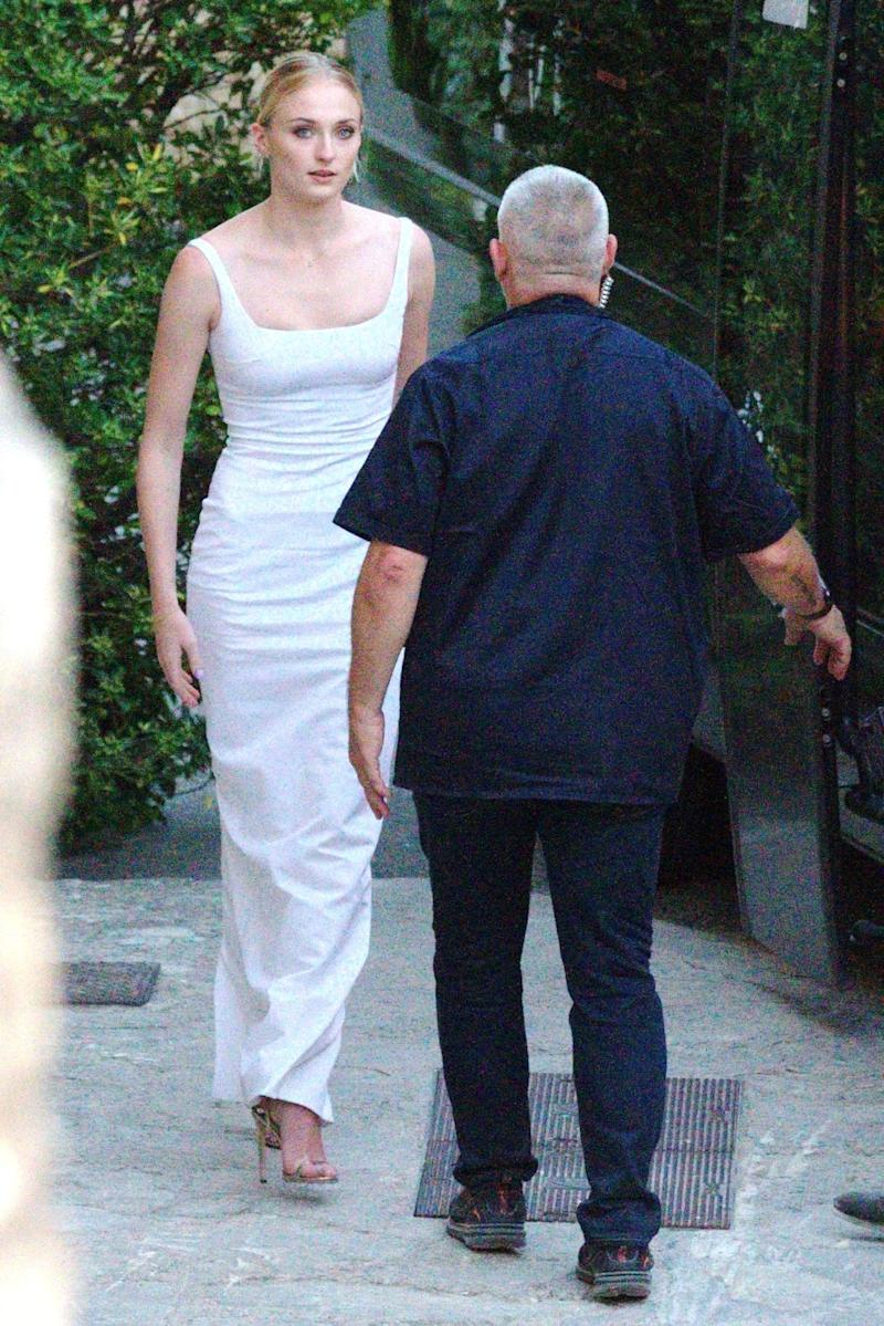 Sophie Turner Wore A Minimal White Dress To Her Pre Wedding