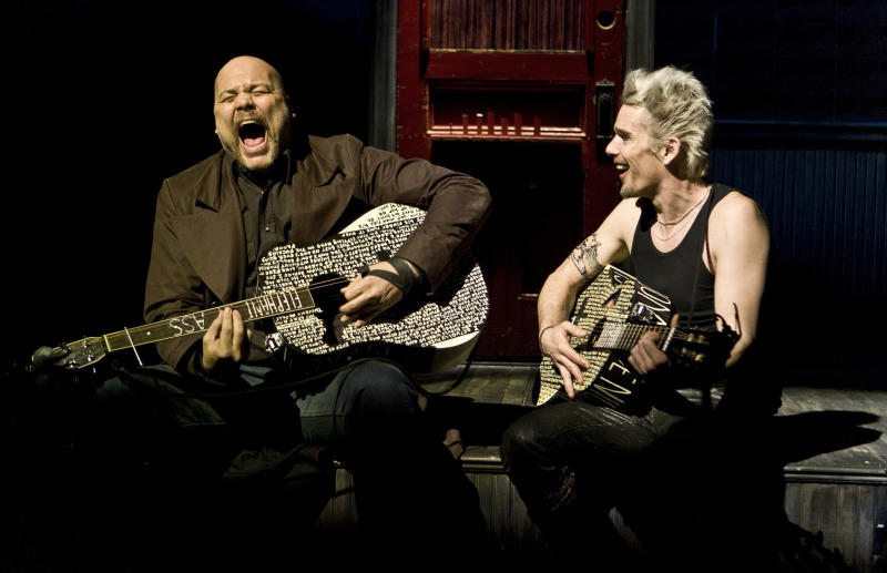 """This undated theater image released by Seven17 Public Relations shows Vincent D'Onfrio, left, and Ethan Hawke, in a scene from """"Clive"""", a production by The New Group performing off-Broadway at Theatre Row in New York. (AP Photo/Seven17 PR, Monique Carboni)"""