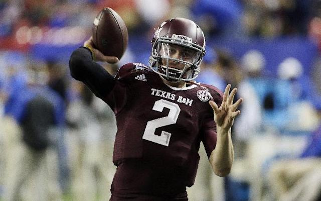 FILE - In this Dec. 31, 2013, file photo, Texas A&M quarterback Johnny Manziel (2) warms up before the start of the Chick-fil-A Bowl NCAA college football game against Duke in Atlanta. Manziel is a 2012 Heisman Trophy winner was one of most exciting and productive players in college football history. He is a top prospect in the upcoming NFL draft. (AP Photo/John Bazemore, File)