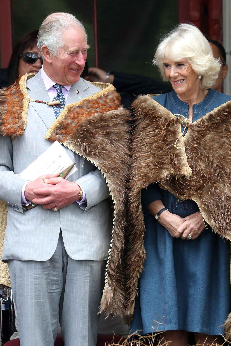 <p>Prince Charles and Camilla attend a reception during their visit to the Waitangi Treaty Grounds in Waitangi, New Zealand.</p>
