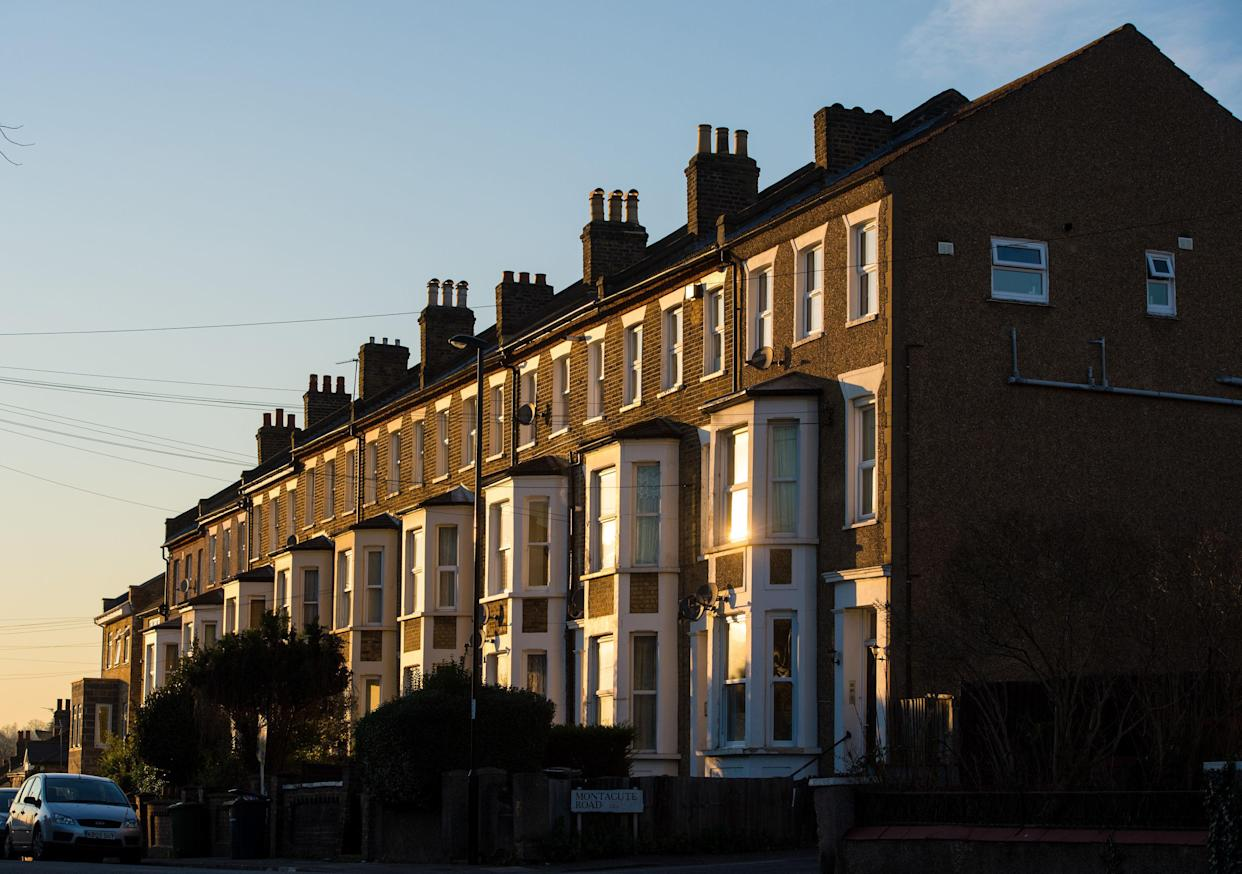 File photo dated 19/1/2016 of terraced residential houses in south east London. Nearly half of working private renters in England could not afford their rent for more than a month if they lost their job, Shelter has found.