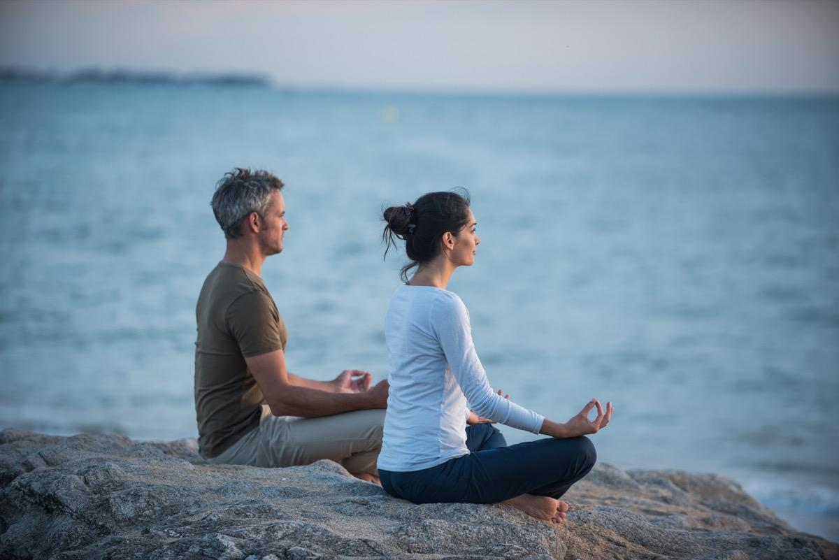 "Just a few minutes of meditation a day can improve your health for days, weeks, months, and years. One 2018 study published in the <a href=""https://www.researchgate.net/publication/324932630_Mindfulness_On-The-Go_Effects_of_a_Mindfulness_Meditation_App_on_Work_Stress_and_Well-Being"" target=""_blank""><em>Journal of Occupational Health Psychology</em></a> found that individuals who did between 10 and 20 minutes of app-based meditation over an eight-week period experienced greater overall wellbeing, <a href=""https://bestlifeonline.com/mindful-work/?utm_source=yahoo-news&utm_medium=feed&utm_campaign=yahoo-feed"" target=""_blank"">minimized work-related stress</a>, and reduced blood pressure as compared to a control group."