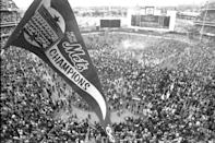 """<p><strong>October 16th, 1969</strong>: Led by a stalwart pitching performance by Jerry Koosman and timely hitting by Donn Clendenon and others, the New York Mets complete their miracle and defeat the powerful Baltimore Orioles, 5-3, in a World-Series-clinching Game 5. """"The victory gave the Mets one of the more improbable world championships of all time,"""" says Wallace. """"Under the steady leadership of manager Gil Hodges, the team—a laughingstock since their arrival in 1962—captured the imaginations of fans nationwide.""""<br> </p>"""