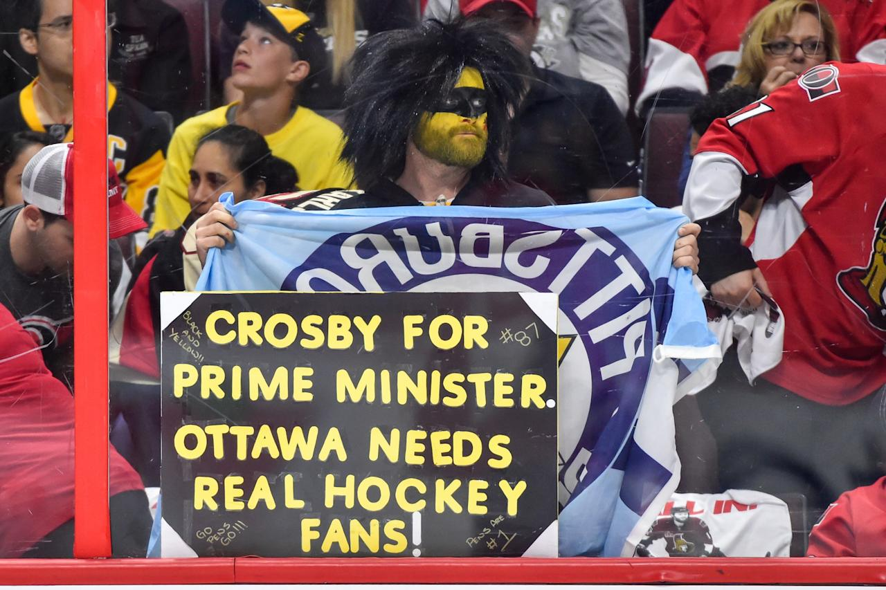 <p>A hockey fan shows his support for the Pittsburgh Penguins against the Ottawa Senators in Game Six of the Eastern Conference Final during the 2017 NHL Stanley Cup Playoffs at Canadian Tire Centre on May 23, 2017 in Ottawa, Ontario, Canada. The Ottawa Senators defeated the Pittsburgh Penguins 2-1. (Photo by Minas Panagiotakis/Getty Images) </p>