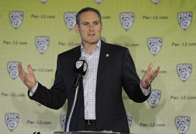 Pac-12 Commissioner Larry Scott said the rule is about supporting the significance of the bowl season. (AP Photo/Eric Risberg)