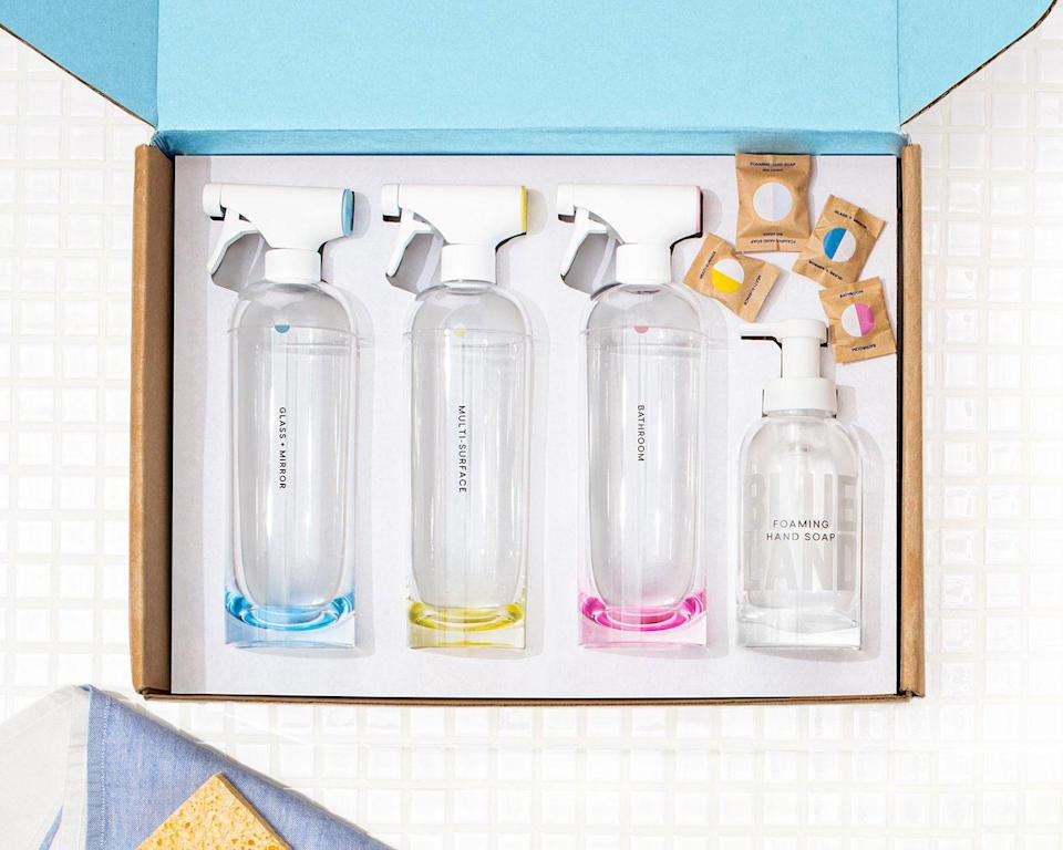 """<p>It might not be the most romantic gift, but Blueland's starter kit — complete with refillable bottles; and dissolvable tablets to mix up any cleaning solution you need — is perfect for the eco-conscious giftee making a resolution to use less plastic in 2021.</p> <p><strong>Buy It!</strong> Essentials kit, $39; <a href=""""https://www.blueland.com/products/the-clean-essentials?gclid=CjwKCAiAv4n9BRA9EiwA30WND5XMPPYwDyjHmuJgw2__GDpHZasatKV4gRae_Yu1SCG5KXz495EvORoCAuYQAvD_BwE"""" rel=""""nofollow noopener"""" target=""""_blank"""" data-ylk=""""slk:blueland.com"""" class=""""link rapid-noclick-resp"""">blueland.com</a></p>"""