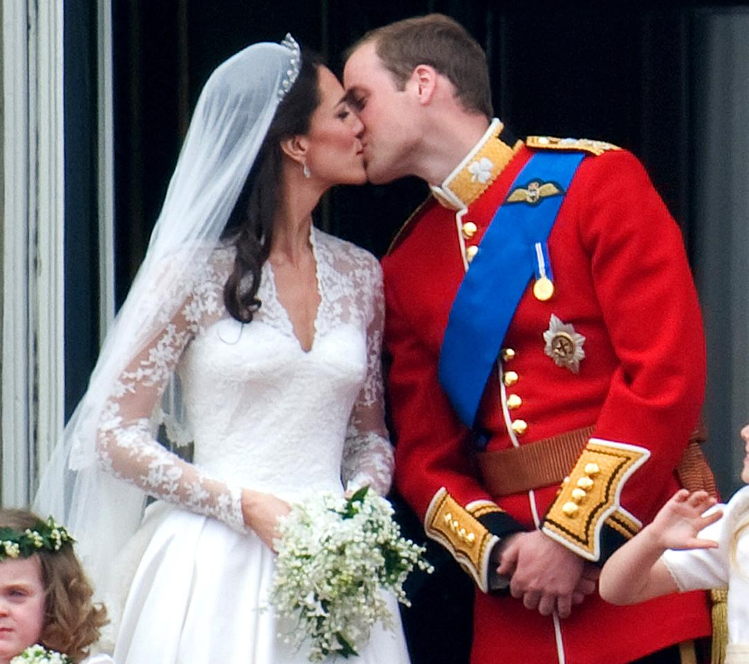 Following in the footsteps of William's father Prince Charles and mother Princess Diana, the couple stepped out onto the balcony of Buckingham Palace to kiss, which was met with loud cheers, after they tied the knot in Westminster Abbey on April 29, 2011.