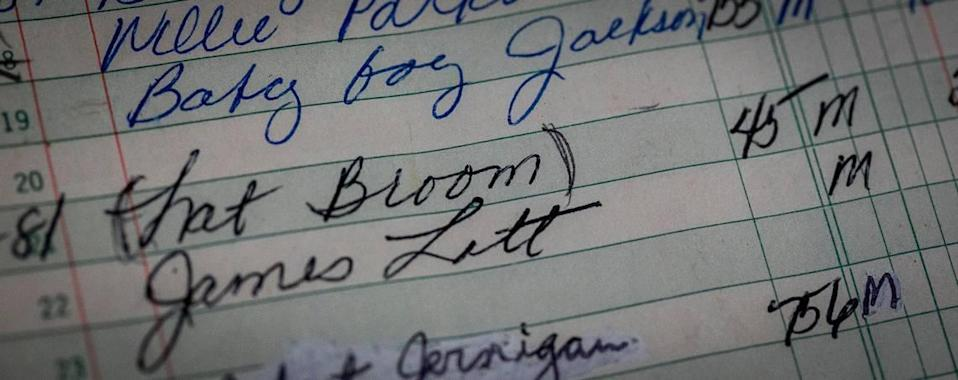 Miami, Florida, May 7 2021 - The name Nat Broom appears in a handwritten ledger that was given to retired detective Jerry Lynn Dellamico by the new owner of Lincoln Memorial Park. This led to the finding of the grave that is believed to be that of officer Nathaniel Broom.