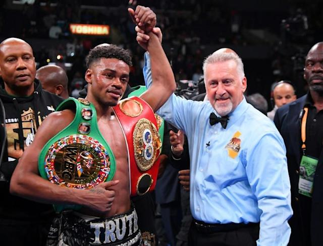 US boxer Errol Spence, who unified the IBF and WBC welterweight world titles with a win over Shawn Porter in September, faces a driving while intoxicated charge after flipping his Ferrari in a one-car crash in Texas (AFP Photo/Jayne Kamin-Oncea)