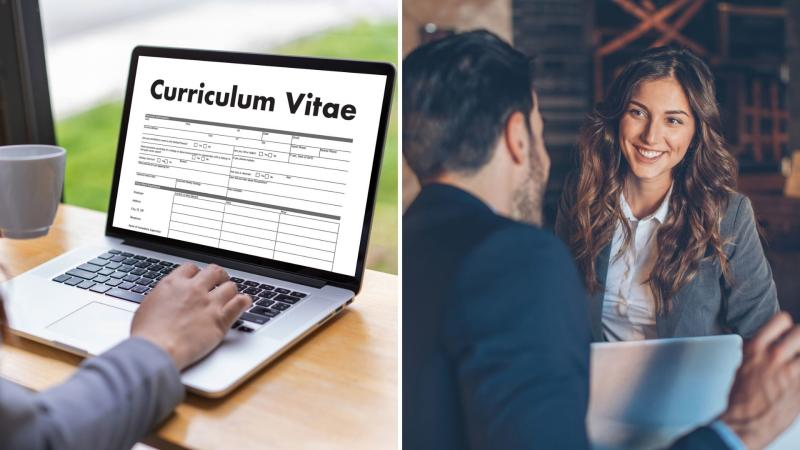 A computer showing a resumé on the left and a woman and man in a job interview on the right.