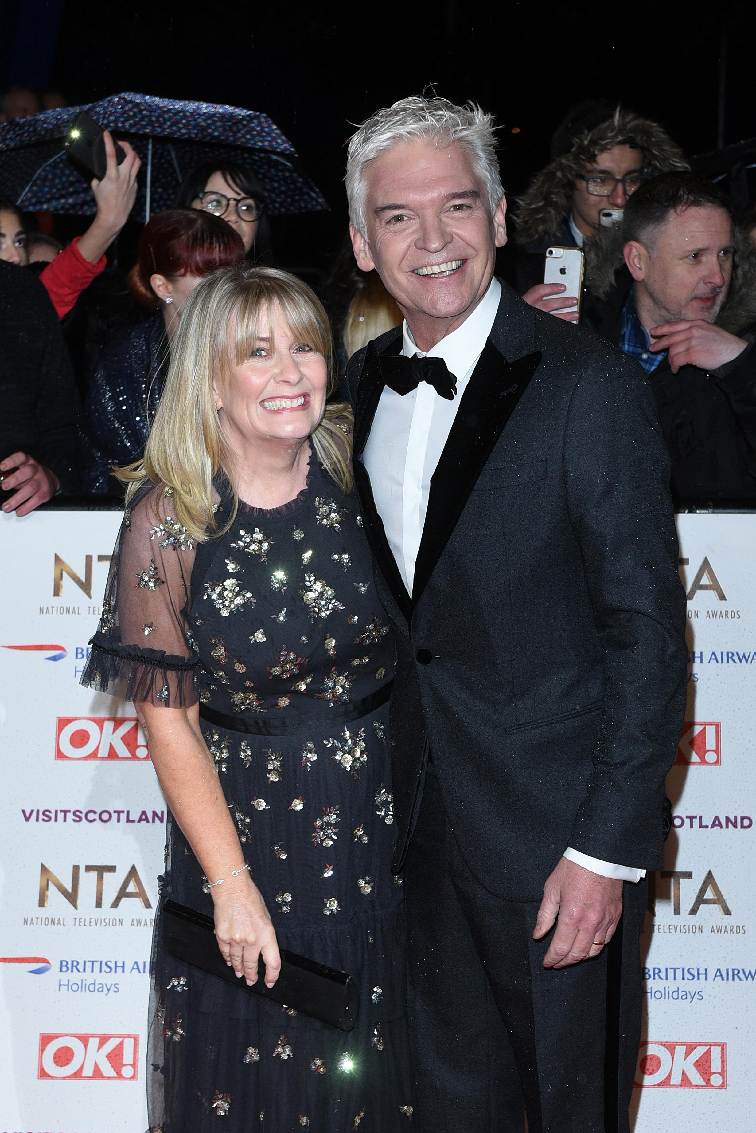 Phillip Schofield and his wife, Stephanie Lowe, at the National Television Awards in January 2019. (Photo by Joe Maher/WireImage)