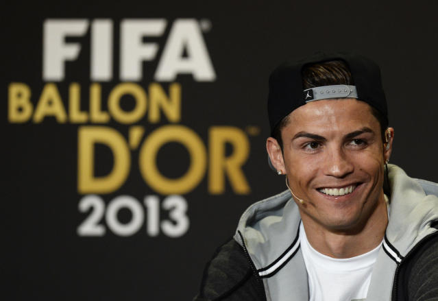 Cristiano Ronaldo of Portugal, one of the nominees for the Men's World Soccer Player of the year, speaks during a press conference at the FIFA Ballon d'Or awarding ceremony in Zurich, Switzerland, Monday, Jan. 13, 2014. (AP Photo/Keystone,Steffen Schmidt)