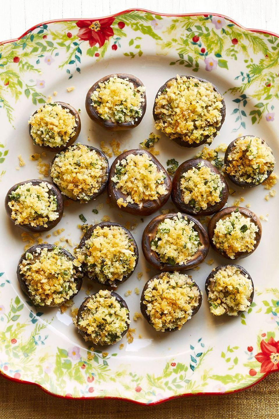 "<p>Wine and cheese—but take it up a notch. Just know, these brie-stuffed mushrooms won't last long. </p><p><strong><a href=""https://www.thepioneerwoman.com/food-cooking/recipes/a34208011/crispy-brie-stuffed-mushrooms-recipe/"" rel=""nofollow noopener"" target=""_blank"" data-ylk=""slk:Get the recipe."" class=""link rapid-noclick-resp"">Get the recipe.</a></strong></p><p><strong><a class=""link rapid-noclick-resp"" href=""https://go.redirectingat.com?id=74968X1596630&url=https%3A%2F%2Fwww.walmart.com%2Fip%2FTropical-Toile-Bird-Mix-and-Match-4-Piece-Appetizer-Plate-Set-by-Drew-Barrymore-Flower-Home%2F673027594&sref=https%3A%2F%2Fwww.thepioneerwoman.com%2Fhome-lifestyle%2Fentertaining%2Fg34192298%2F50th-birthday-party-ideas%2F"" rel=""nofollow noopener"" target=""_blank"" data-ylk=""slk:SHOP APPETIZER PLATES"">SHOP APPETIZER PLATES</a><br></strong></p>"