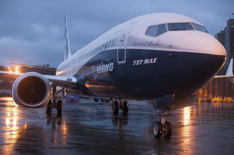 A Boeing 737 MAX sits outside the hangar during a media tour of the Boeing 737 MAX at the Boeing plant in Renton, Washington