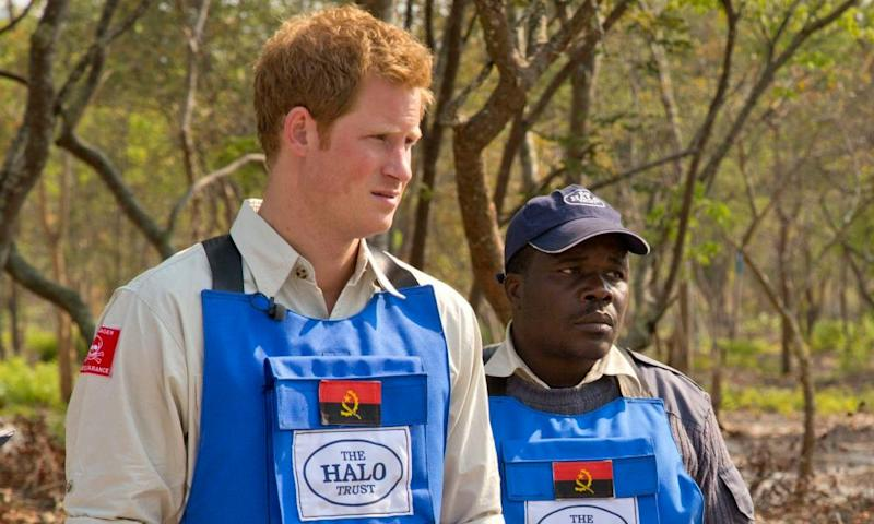 Prince Harry visiting a mine clearance site in Angola